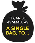 icon with 'It can be as small as a single bag, to'